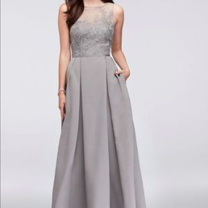 David's Bridal Mercury Long Bridesmaid Dress